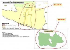 Perbandingan Luas konsesi Tambang Freeport Blok A dan B di Mimika Seluas Kabupaten Bogor