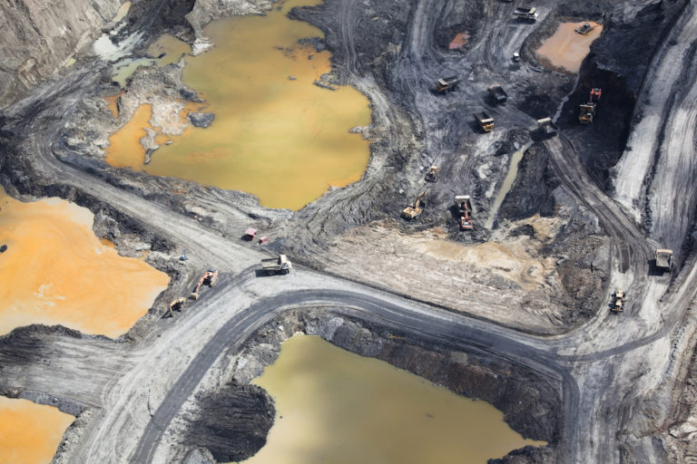 Aerial view of the PT Borneo Indobara coal mining operation in South Kalimantan, part of Indonesian Borneo. Photo by Daniel Beltra/Greenpeace.