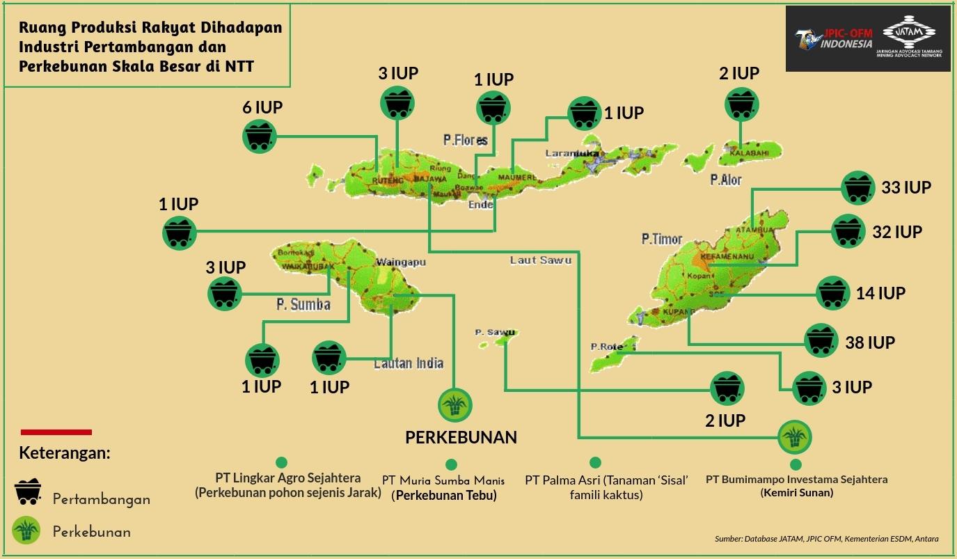 Sebaran Izin Tambang dan Perkebunan yang Aktif di NTT