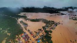 Foto udara kondisi banjir bandang yang merendam rumah warga di Kecamatan Asera, Kabupaten Konawe Utara, Sulawesi Tenggara, Selasa (11/6/2019). Oheo Sakti/ANTARA FOTO